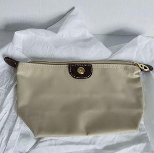 Longchamp Cosmetic Beige Nylon Clutch
